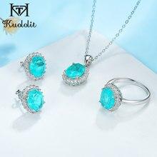 Kuololit Paraiba turmalin taş takı seti kadınlar için katı 925 ayar gümüş yüzük küpe kolye düğün hediyeleri için