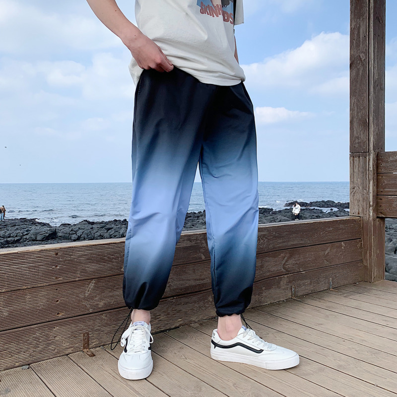 Pants Men Trousers Joggers Tie-Dye Streetwear Gradient Casual Fashion Drawstring Loose title=