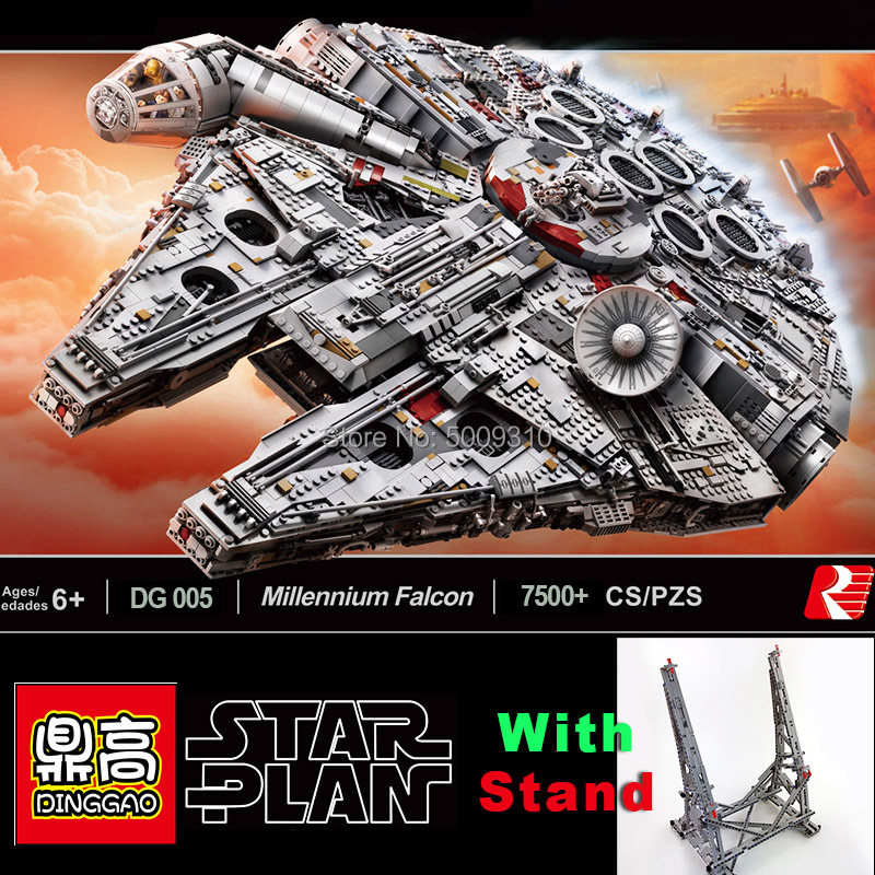 Ultimate Collector Millennium Kit Falcon Building Blocks Bricks With Stand Christmas Gifts Toys Fit LegoingLYS Star Wars 75192