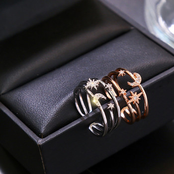 Fashion Delicated Multi-layer Star Moon Rings With Rhinestone For Women Jewelry 2020 New Arrival Rings Bijoux Wholesale