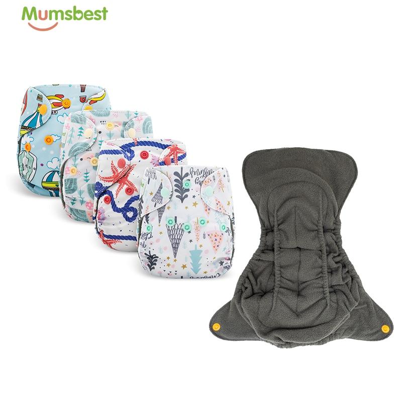 Mumsbest/5 шт./компл. бамбука быстросохнущие тканевые подгузники для новорожденных подгузник для новорожденных многоразовые двойные вставки По...