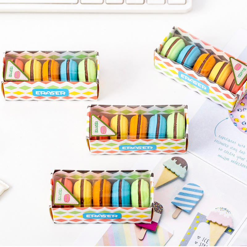 5 Pcs/lot Kawaii Eraser Macaron Styling Rubber Creative Kawaii Stationery School Supplies Papelaria Gift For Kids Back To School