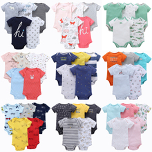 5pcs Baby Rompers 100% Cotton Lnfant Body Short Sleeve Clothing Baby Bodysuit Jumpsuit Cartoon Printed Baby Boy Girl Clothes 2018 real 100% cotton baby clothing three piece normal boy girl clothessize bodysuit
