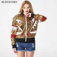 New Autumn Winter Zipper Long Sleeve Bomber Jacket Long Sleeve Embroidery Sequin Outwear Chaquetas Mujer