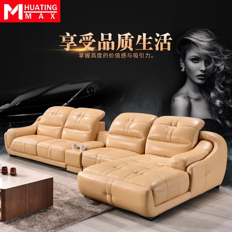 Living Room Sofa Set Corner Sofa Speaker Real Genuine Cow Leather Sectional Sofas Minimalist Muebles De Sala Moveis Para Casa