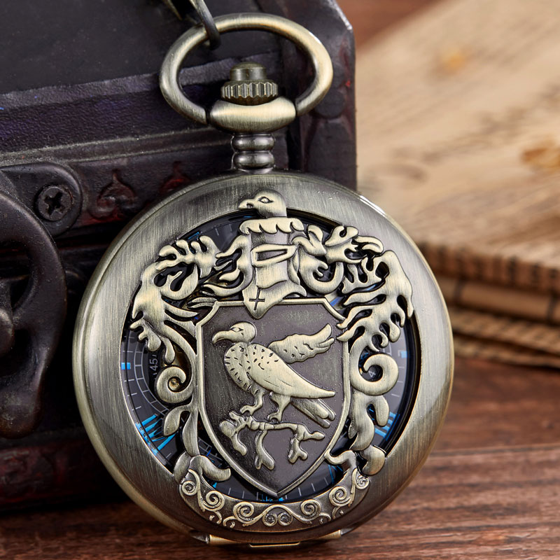 Mens Watch Pocket Vintage Bronze Bird /eagel Carving Mechanical Pocket Watch Magic Academy Badge Pocket Watch Presents For Male