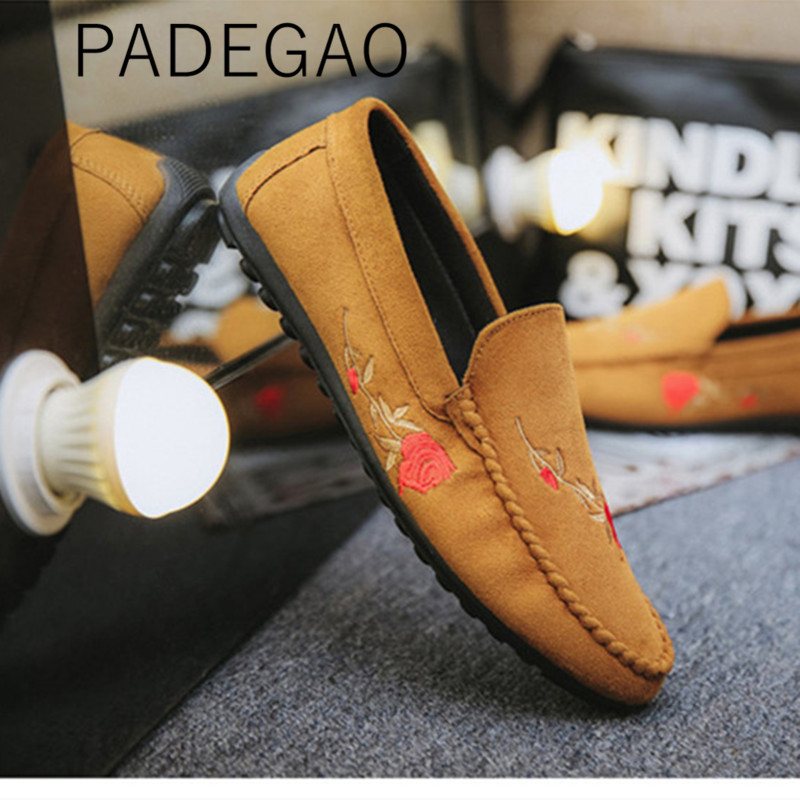 Shoes Loafers Spring Men's Casual Fashion Flower Flock for Embroidery Korea-Style