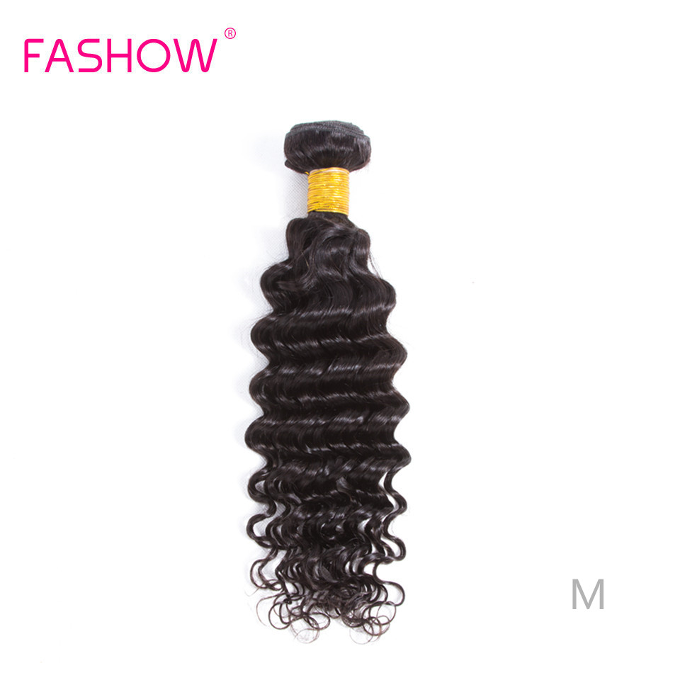Fashow Brazilian Deep Wave 1/3/4 Bundles Weave 8-30 Inches 100% Human Hair Natural Black Color Remy Hair MIddle Ratio