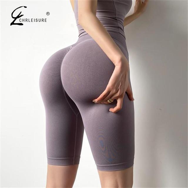 CHRLEISURE Summer Women Shorts Fitness High Waist Short Seamless Push Up Sporty Shorts Female Slim Workout Gym Biker Shorts 2