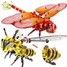Huiqibao simulado animal técnico inseto diy libélula vespa blocos de construção modelo tijolos cidade construção brinquedos para crianças