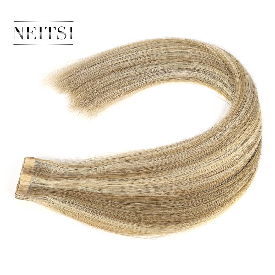 """Neitsi Remy Tape In Human Hair Extensions Double Drawn Adhesive 20"""" 50cm 2.5g/pc Balayage Color Straight Skin Weft Hair"""