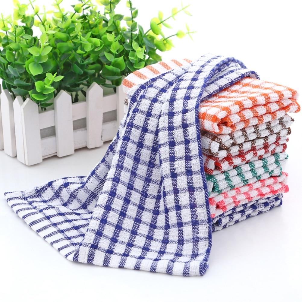 6PCS Cotton Kitchen Tea Towels Absorbent Lint Free Catering Restaurant Cloth  Dish Towels
