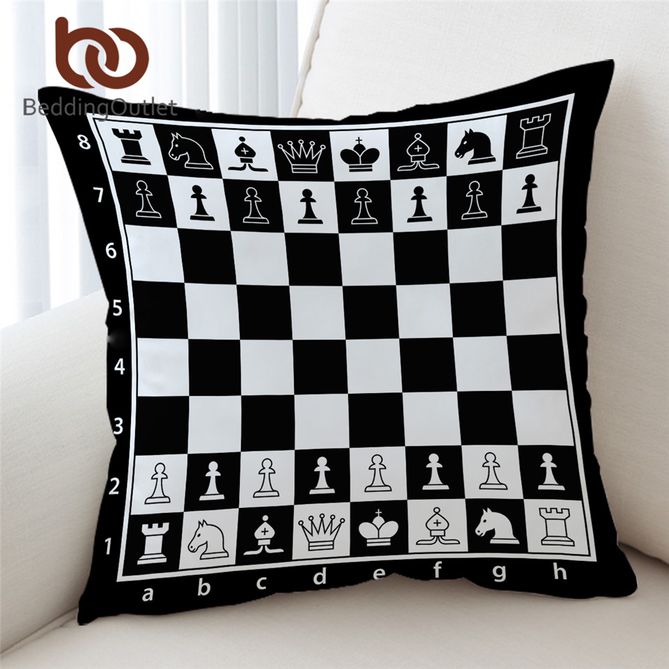 Beddingoutlet Chess Board Cushion Cover Games Pillow Case Black And White Decorative Throw Pillow Cover Squares Home Decor 45x45 Cushion Cover Aliexpress