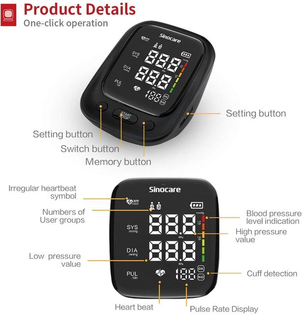 Blutdruckmessgerät für den oberen Arm mit Stimme und großem LED Display 4