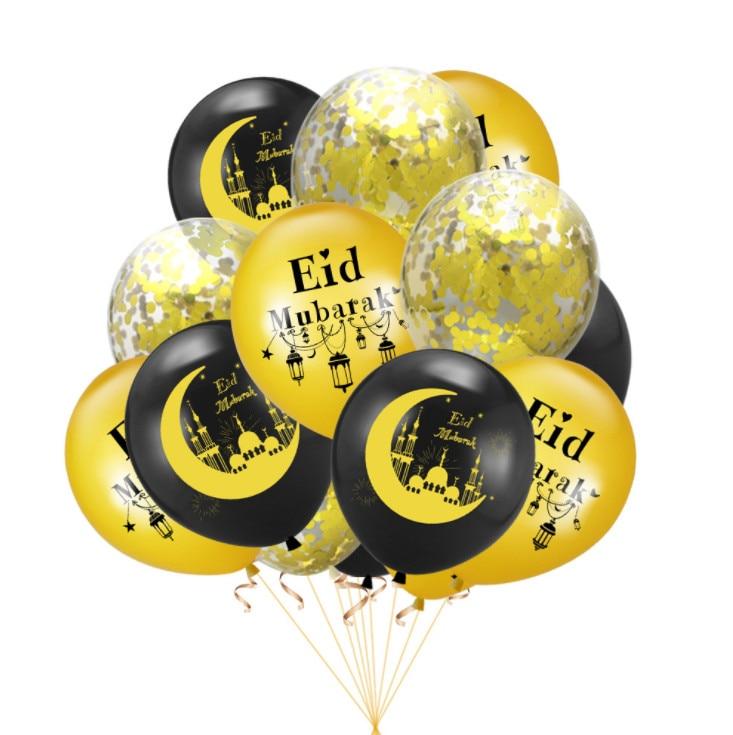 12pcs Eid Mubarak Decor Latex Balloons Mixed Confetti Balloon Eid Ramadan Mubarak New Year Islamic Muslim Festival Decorations