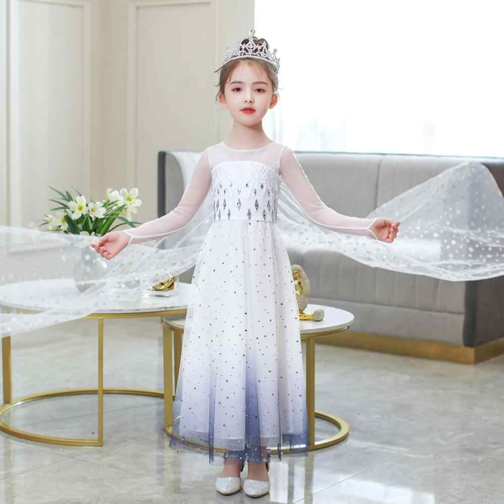 2020 Baru Elsa Dress Frozen 2 Natal Halloween Elsa Ulang Tahun Pesta Putih Princess Prom Dress Cosplay Set Hadiah Ulang Tahun