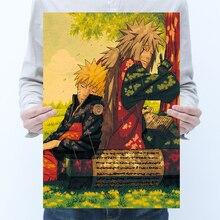 Vintage Anime dibujos animados Naruto cartel de dibujos adhesivos de decoración de habitaciones decoración del hogar pegatinas para la pared de papel carteles