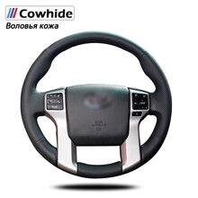 Black Genuine Leather Steering Wheel Cover for Toyota Land Cruiser Prado 2010-2015 Tundra 2013-2017 Tacoma 2011-2016
