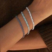 SLJELY Bracelet de luxe pour femmes, en argent Sterling 925, bleu marine blanc, avec oreilles en blé, en forme de cœur, en zircone, 3 couleurs