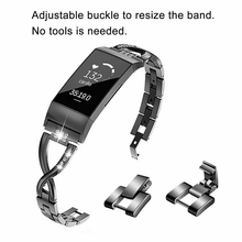 купить Fashion Stainless Steel X Shape Lady Chain Strap Watch Band For Fitbit Charge 2 3 Metal Bracelet Adjustable Straps Accessories по цене 571.85 рублей