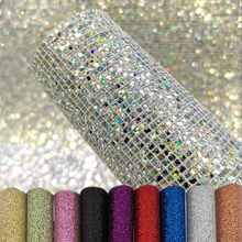 A5 Small Lattice Colorful Bright Flash Glitter PU Leather DIY Earrings Handicrafts Bags Mobile Phone Case Hairpin 20*15 CM