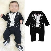 2019 Fashion Newborn Baby Boys Romper Jumpsuit Tuxedo Gentle