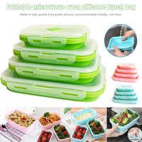 4 шт./компл., силиконовая коробка для завтрака, портативная чаша, красочный складной контейнер для еды, коробка для ланча, экологически чисты...
