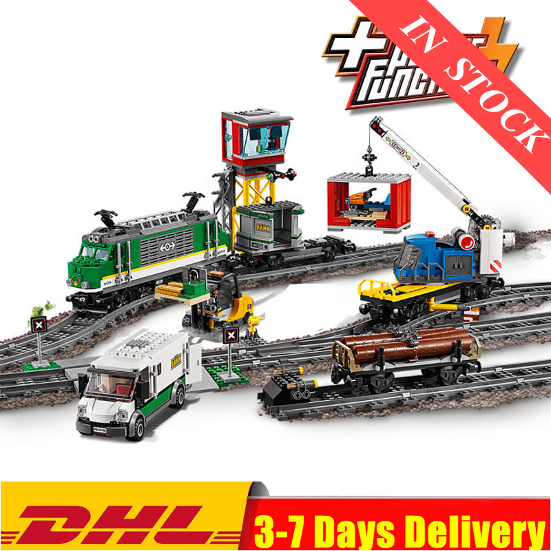 2020 IN Stock 02118 02117 City Cargo Train Remote Control Building Kit Building Blocks Bricks Model Toys Fit For 02008 60198