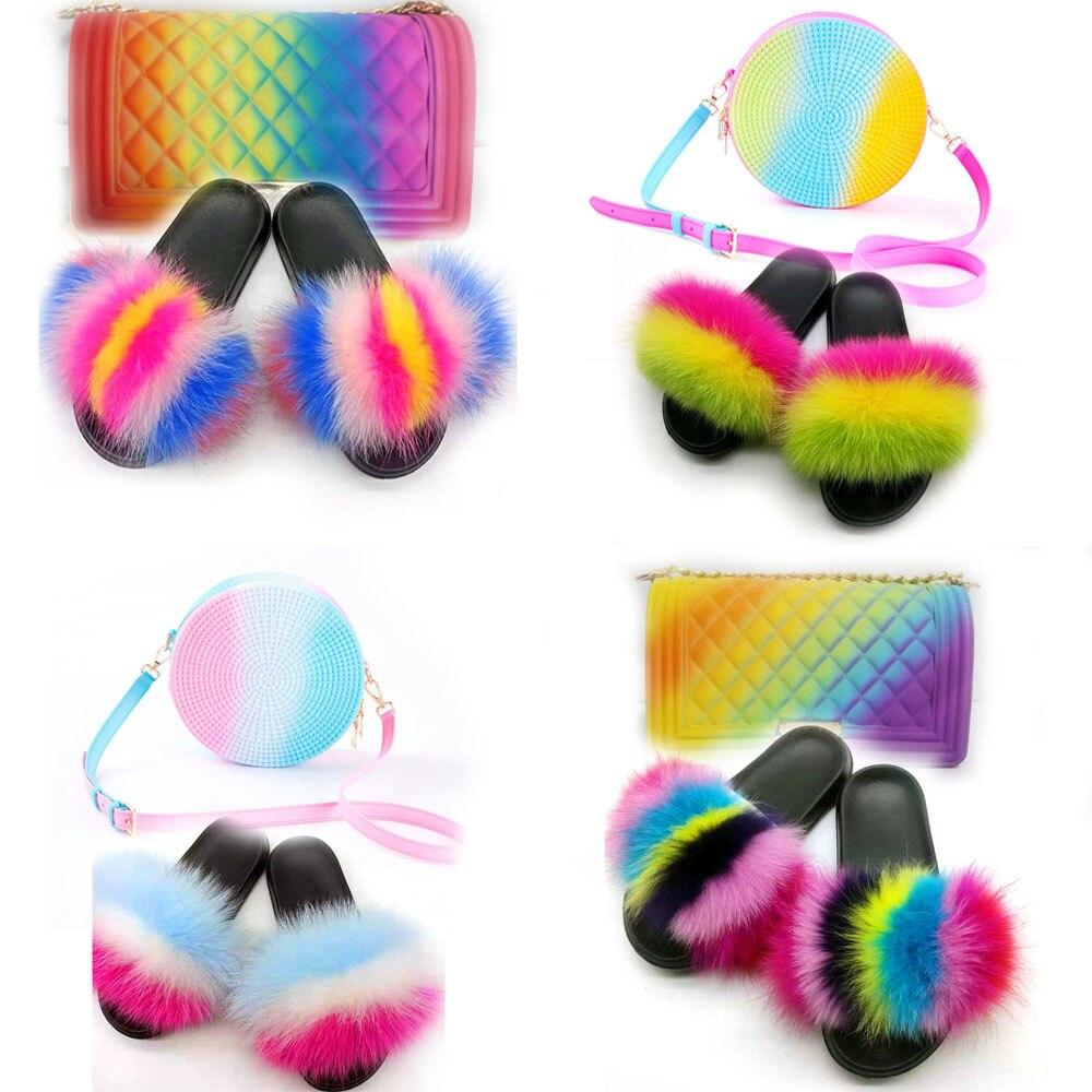 Summer Woman Fox Fur Slippers Flat Fur Sandals Color Sandals Furry Slippers Bag Set Fox Fur Slides Fluffy Flip Flops Fur Sandals