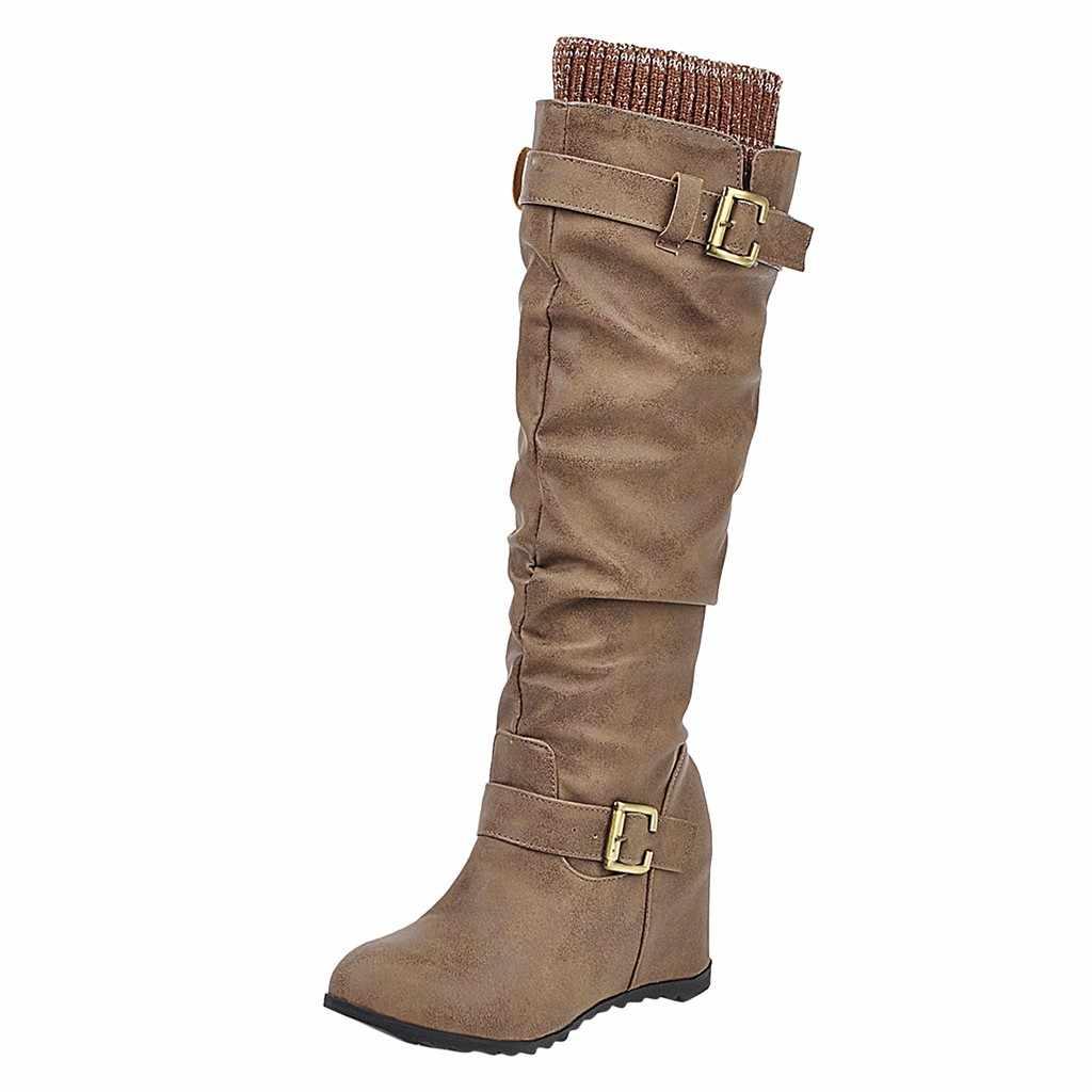 2019 gorąca sprzedaż kobiet buty nowe damskie Slip-On kliny podkolanówki i same solidne buty kwadratowy obcas na co dzień z długim botki Botas Mujer Nieve