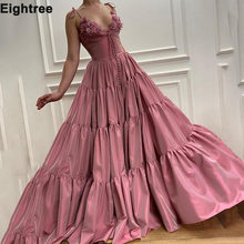 Элегантное розовое платье для выпускного вечеринки на бретельках