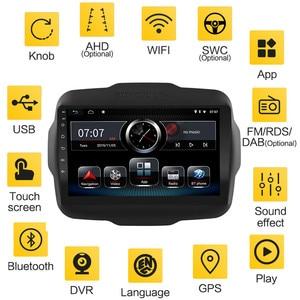 Image 4 - אנדרואיד 10 8.1 2 דין רכב רדיו עבור Jeep Renegade 2016 2017 2018 2019 2020 AHD מצלמת 9 GPS ניווט AM רכב מולטימדיה נגן
