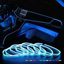 Car Interior EL Wire Ambient LED Flex Rgb Strip Auto Flexible Atmosphere Neno Tube Soft USB Lamp Lighting Strip Rope Tape Light