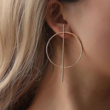 2020 NEW Gold Metal Long Circle Pendant Earings Tassel Earrings for Women  Fashion Jewelry Statement Geometric Voor Vrouwen 2