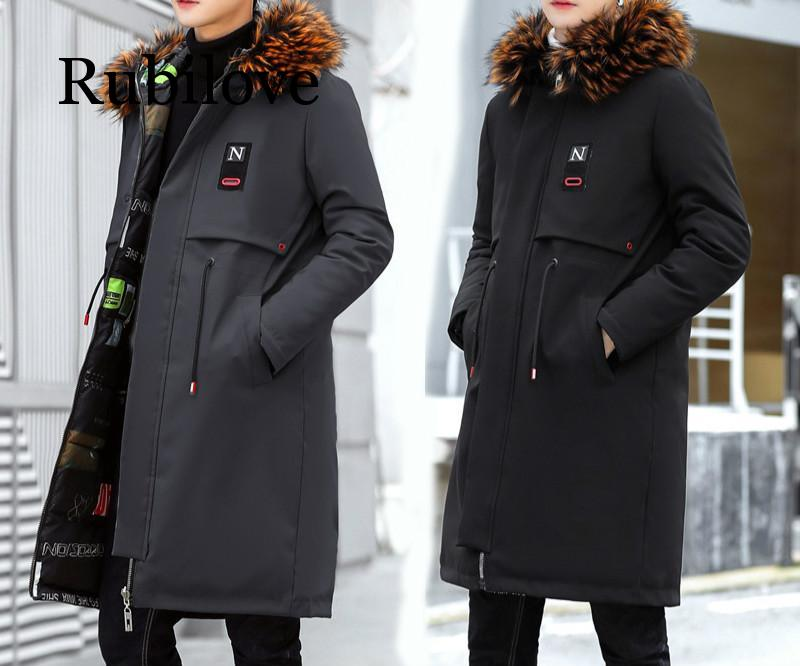 Parkas Men 2019 New Winter Jacket Long Thicken Warm Cotton Big Fur Hooded Outwear Hooded Overcoat Can Be Worn On Both Sides