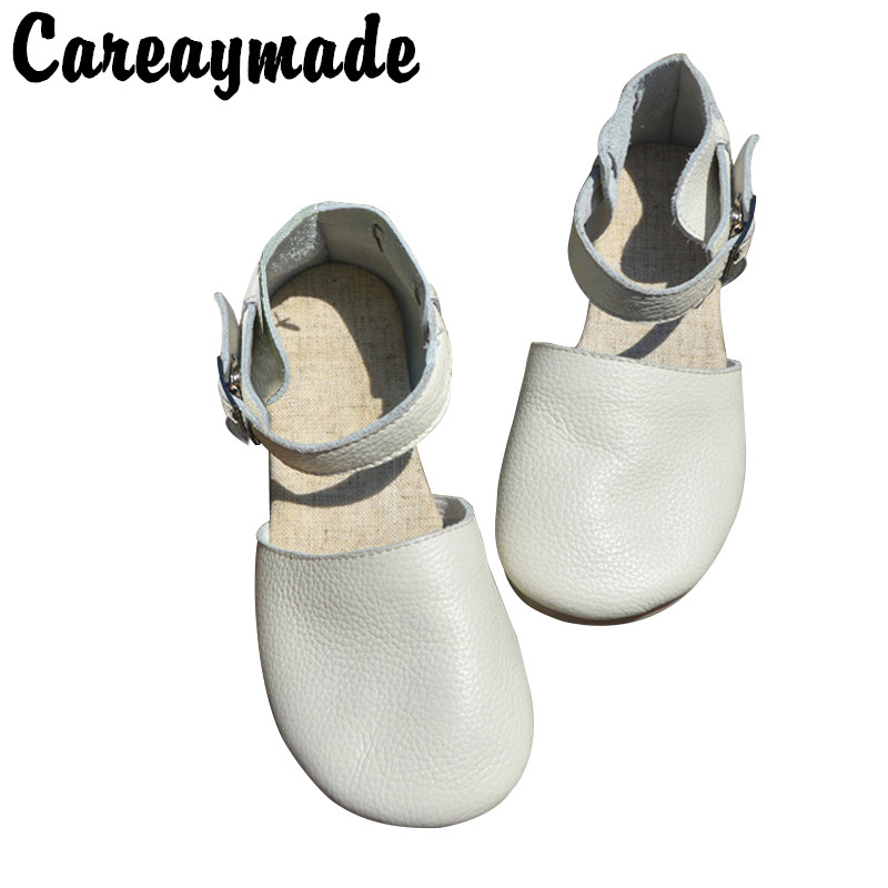"Careaymad-New pure Handmade Genuine leather shoes ,""Sen female"" casual shoes,shallow mouth lacing retro shoes,Black/White"