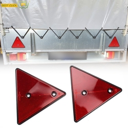 2X Triangle Reflector Red Reflective Triangular Safety Warning Reflectors for Trailer RV Camper Caravan Boat Lorry Truck Tractor