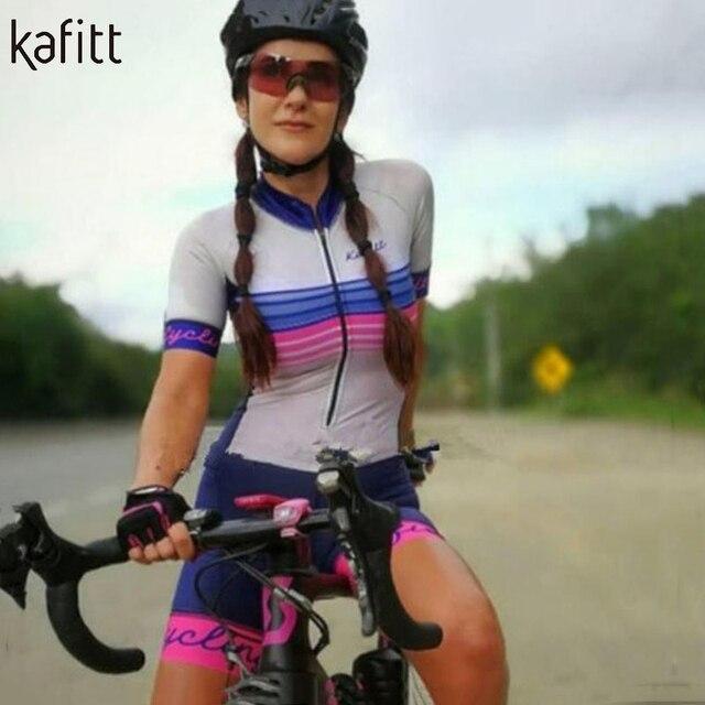 Kafitt Pro equipe triathlon terno das mulheres Macacão de manga curta Camisa de ciclismo Skinsuit Maillot Vestuário ciclismo ciclismo setgel 4
