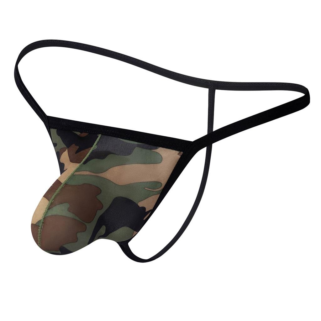 G-string Men Thong Sexy Gay Underwear Transparent See Through Shorts Hot Lip Print Underpants String Homme Calcinha Fio Dental