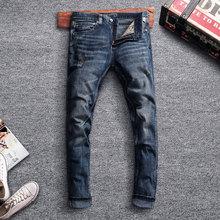 Italian Style Fashion Men Jeans Retro Black Blue Slim Fit Ripped Classical Pants High Quality Vintage Designer