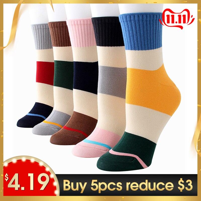 Women Cotton Socks Harajuku Fashion Street Socks Female Autumn Winter Unisex Colorful Strips Sox 3pairs/lot #F
