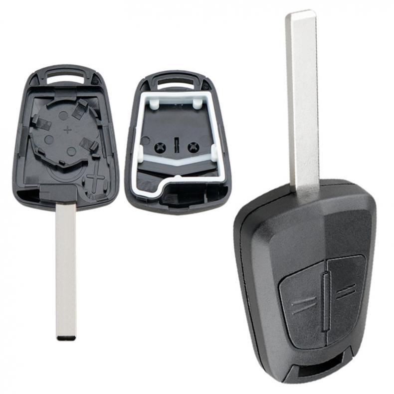 Coque plastique de rechange Durable | 1 pièce, 2 boutons coque de clé de voiture, en plastique avec lame adaptée à Opel Vauxhall Astra H Corsa D Zafira B