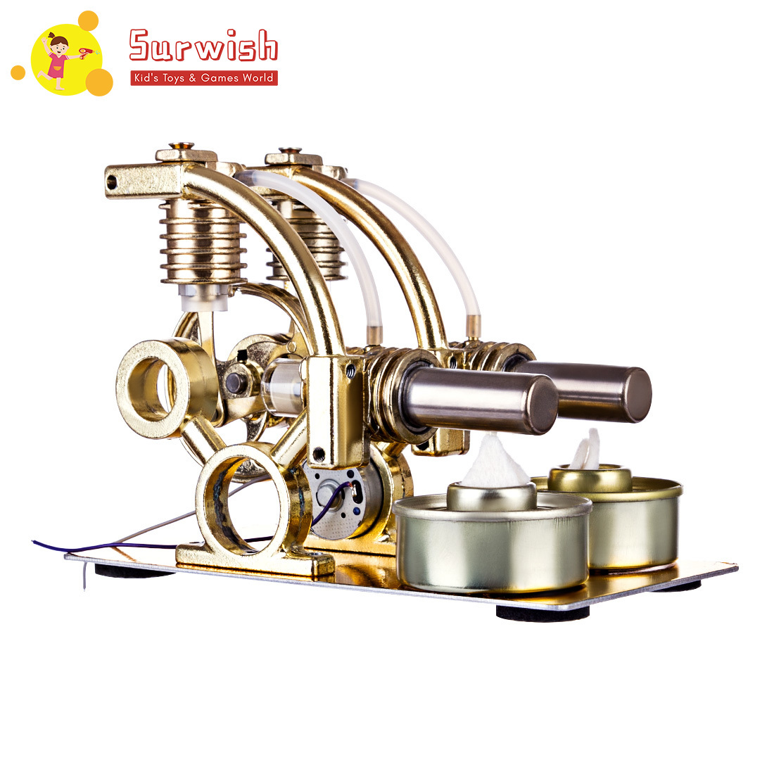 4 Type 1 Pcs Single Cylinder Balance Stirling Engine Model Science Experiment Kit With All-Metal Base High Quality