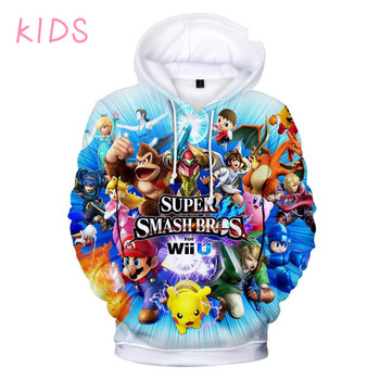 Sudaderas de 3 a 14 años para niños Super Smash Bros. El mejor juego 3D Super Smash favorito de los niños sudadera Tops de dibujos animados para niños/niñas