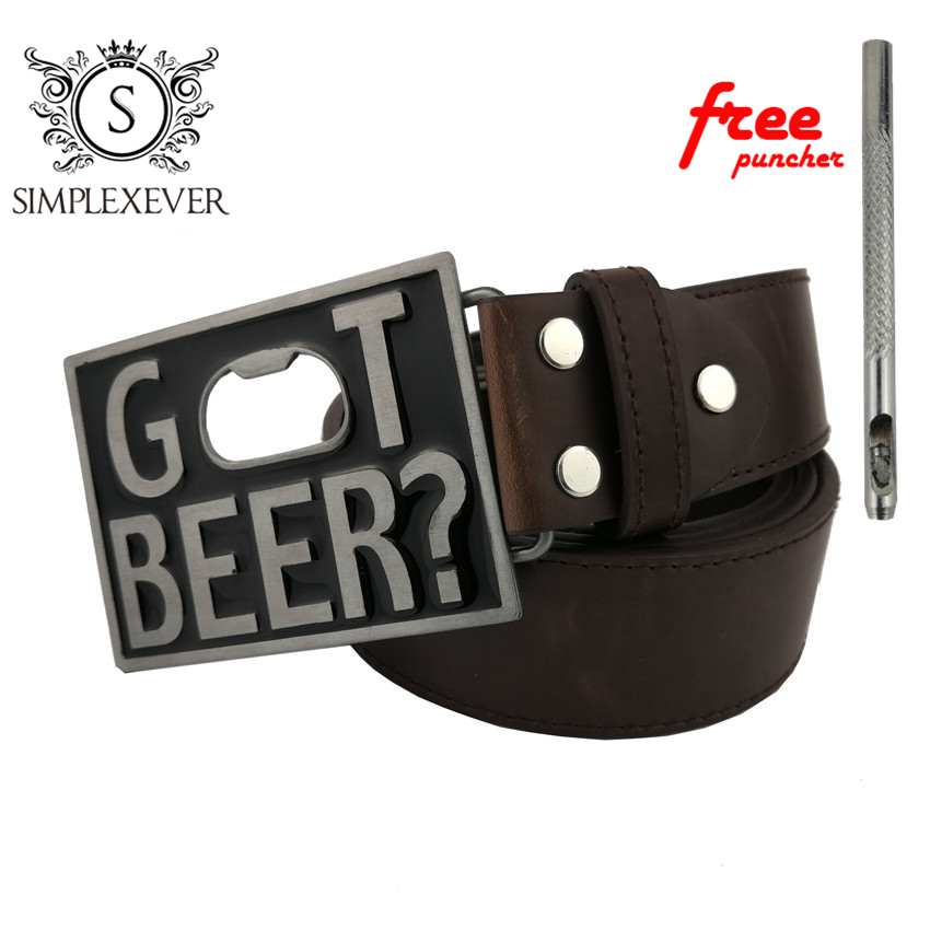 Pu Belts With Got Beer Bottle Opener Belt Buckle Men's Belt Buckle Head Men Women Jeans Accessories