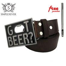 Pu Belts with Got Beer Bottle Opener Belt Buckle Men's Head Men Women Jeans Accessories