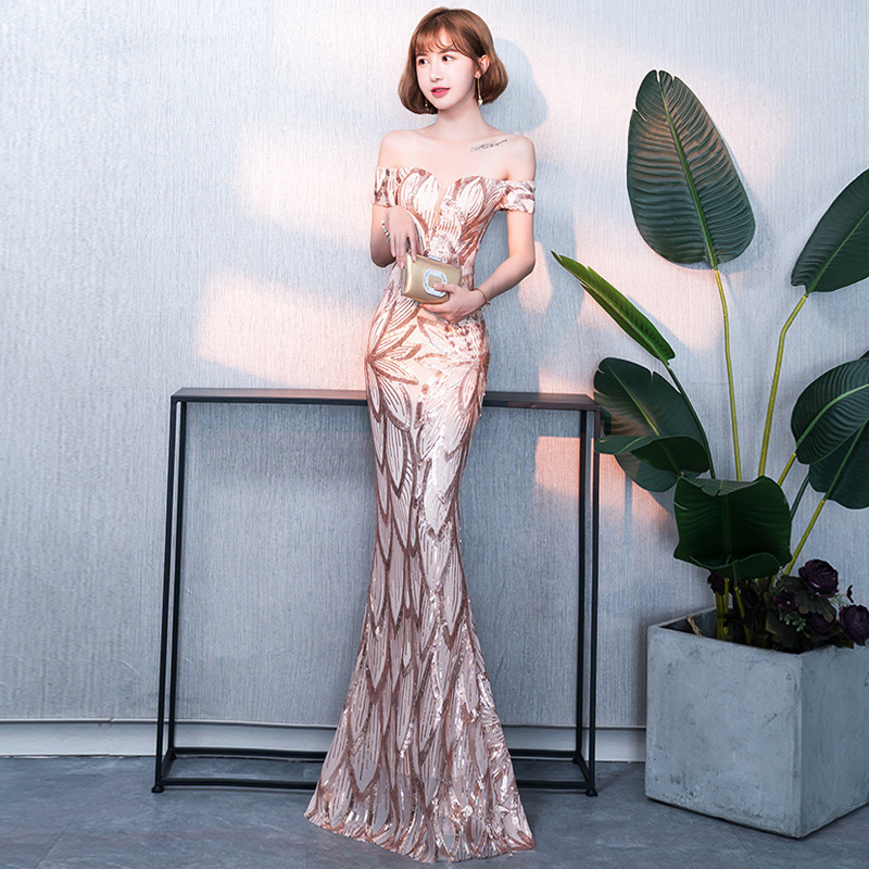 2020 Real Gengli Golden Evening Dress Women 2020 New Banquet Dignified Atmosphere Mermaid Host Dinner Noble Elegant Long Style