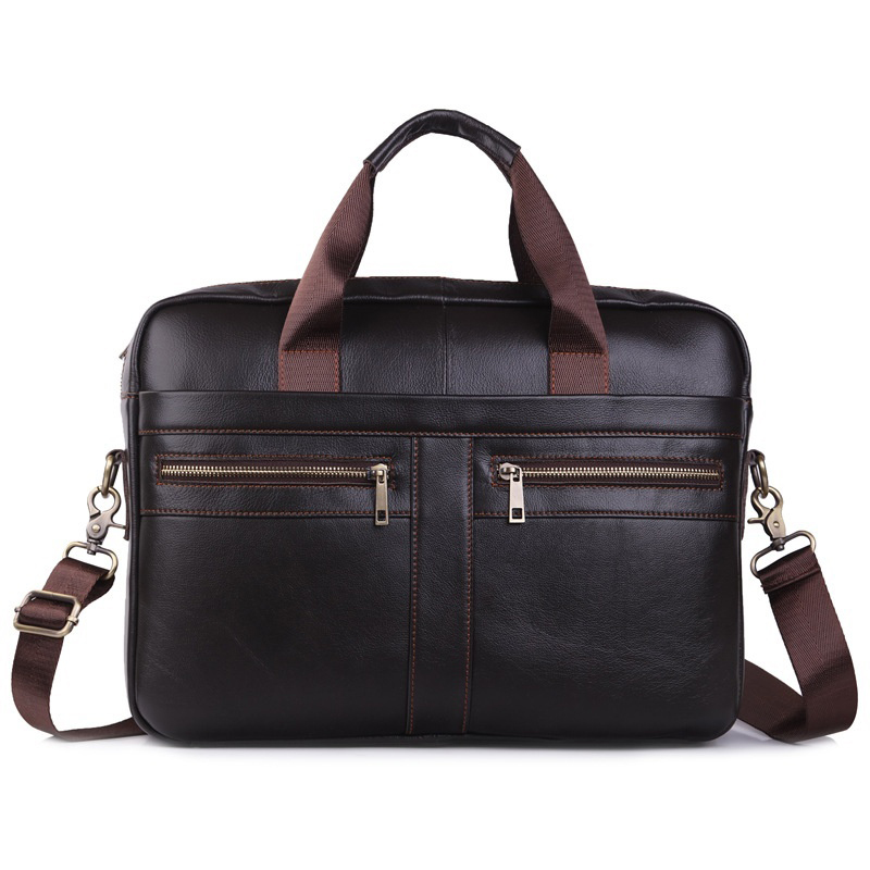Genuine Leather Men Briefcase Vintage Business Large Capacity Computer Bag Fashion Messenger Bags Man Shoulder Bag Postman Male
