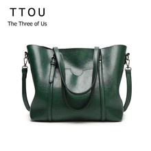 TTOU Women Bag Oil Wax Women's Leather Handbags Luxury Lady Hand Bags With Purse Pocket Women Big Tote Bag Bolsos Mujer