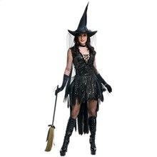 Костюм для взрослых на Хэллоуин и для косплея, черный костюм ведьмы с блестками, женское нарядное платье
